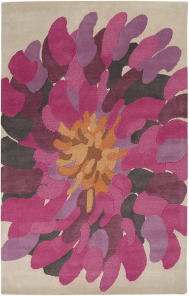 Hibiscus Rug in Bright Pink - Yarn and Loom Rugs