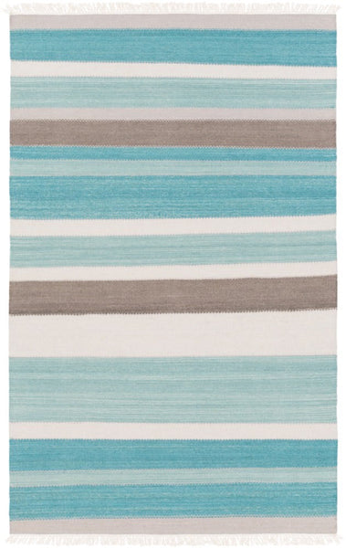 Cabo Flatweave Striped Rug in Aqua - Yarn and Loom Rugs