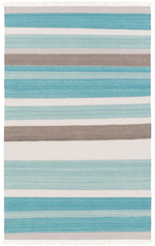Cabo Flatweave Striped Rug in Aqua