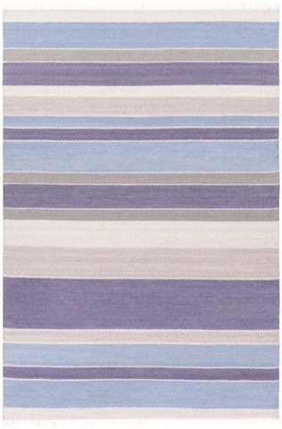 Cabo Flatweave Striped Rug in Blue and Grey