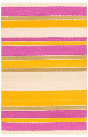 Cabo Flatweave Striped Rug in Bright Orange and Purple
