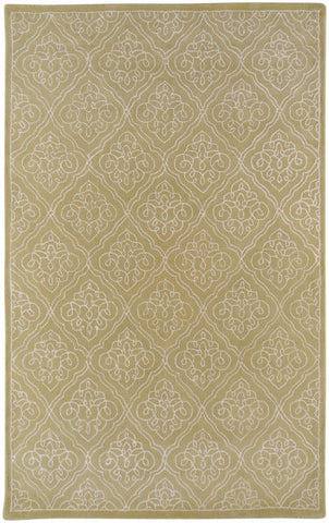 Scrolling Trellis Rug in Moss Green and Ivory - Yarn and Loom Rugs