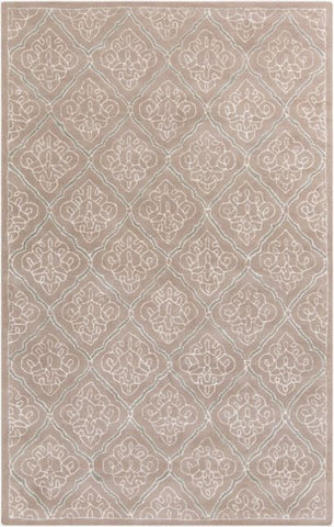 Scrolling Trellis Rug in Taupe and Cream - Yarn and Loom Rugs