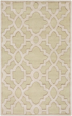 Regency Trellis Rug in Moss Green, Medium Grey and Cream - Yarn and Loom Rugs