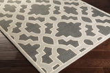 Regency Trellis Rug in Charcoal Grey, Medium Grey and Cream - Yarn and Loom Rugs