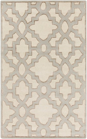 Regency Trellis Rug in Cream, Medium Grey and Tan - Yarn and Loom Rugs