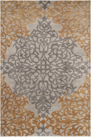 Hand-Knotted Damask Rug in Gold and Silver - Yarn and Loom Rugs