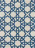 Modern Moroccan Trellis Rug in White and Royal Blue - Yarn and Loom Rugs