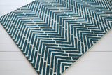 Herringbone Rug in Deep Turquoise and White - Yarn and Loom Rugs