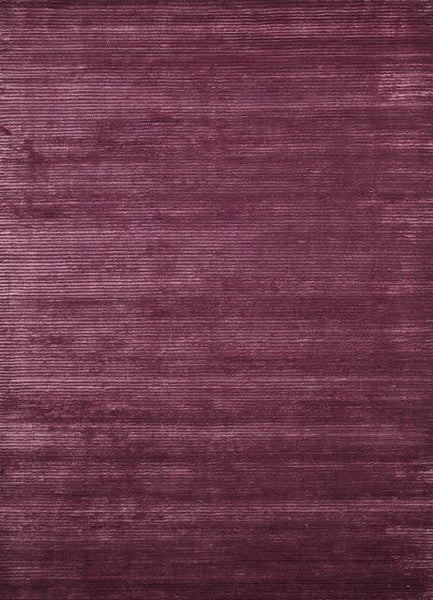 Ribbed Art-Silk and Wool Rug in Deep Purple - Yarn and Loom Rugs