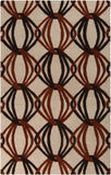 Orbit Rug in Burnt Orange, Dark Brown and Beige - Yarn & Loom Rugs