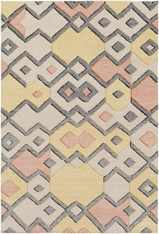 Durban Flatweave Rug in Burnt Orange, Lime Green, Black, Tan and Cream