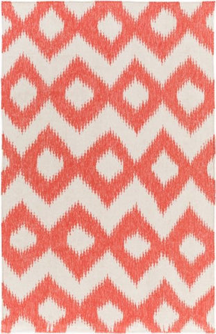 Flatweave Ikat Rug in Bright Orange and Cream - Yarn and Loom Rugs