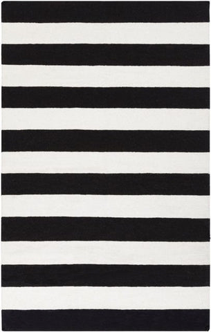 Flatweave Striped Rug in Black and White - Yarn & Loom Rugs
