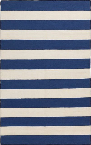 Flatweave Striped Rug in Blue and White - Yarn & Loom Rugs