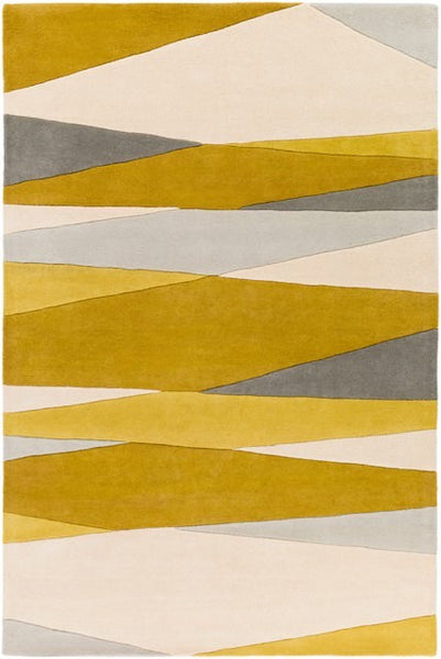 Vector Rug in Cream, Lime, Mustard, Grey and Taupe - Yarn and Loom Rugs