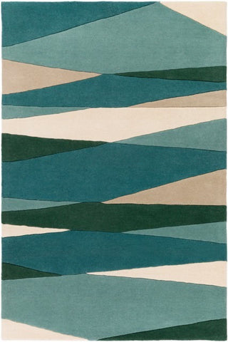 Vector Rug in Seafoam, Dark Green, Teal and Tan - Yarn and Loom Rugs