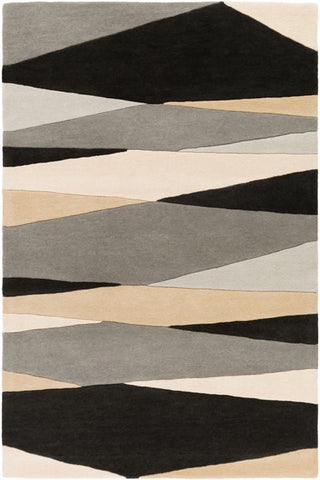 Vector Rug in Black, Cream, Taupe and Grey - Yarn and Loom Rugs