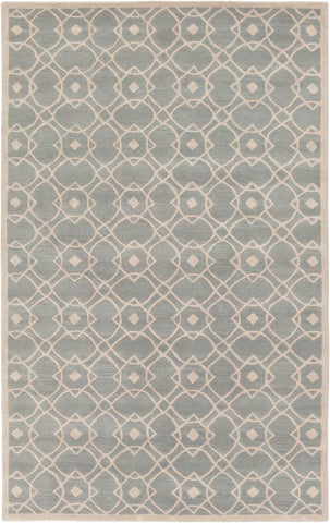 Provincial Trellis Rug in Grey-Blue and Beige - Yarn and Loom Rugs