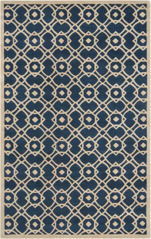 Provincial Trellis Rug in Navy Blue and Beige - Yarn and Loom Rugs