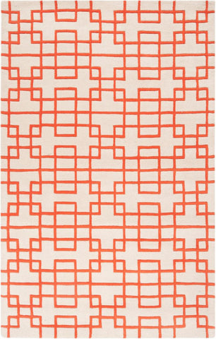 Circuit Rug in Ivory and Orange - Yarn and Loom Rugs