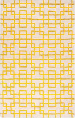 Circuit Rug in Ivory and Yellow - Yarn and Loom Rugs