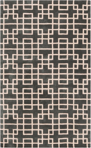 Circuit Rug in Deep Greenish Grey & Ivory - Yarn and Loom Rugs