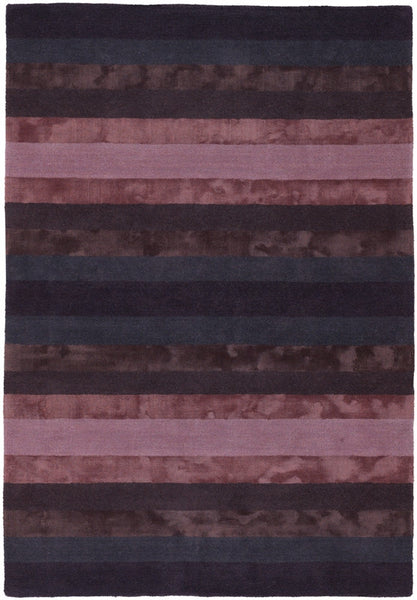 Luxe Stripe Rug in Plum - Yarn and Loom Rugs
