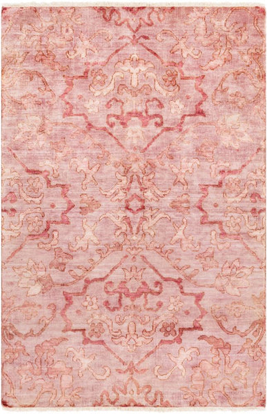 Mosman Hand Knotted Wool Rug in Pale Pink
