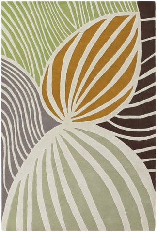 Leaf Rug in Beige, Apricot and Green - Yarn and Loom Rugs