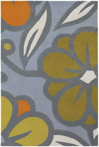 Laguna Floral Rug in Grey, Green and Orange - Yarn and Loom Rugs