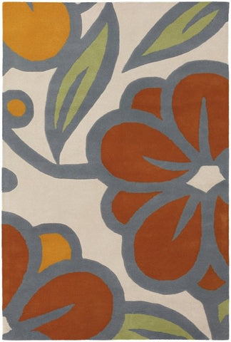 Laguna Floral Rug in Beige, Orange and Green - Yarn and Loom Rugs