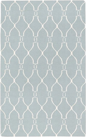 Interwoven Trellis Flatweave Rug in Blue and Beige