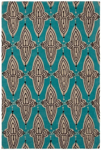 Intricate Lattice Rug in Aqua, Ivory and Black - Yarn and Loom Rugs