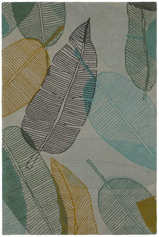 Soothing Leaves Rug in Green - Yarn and Loom Rugs