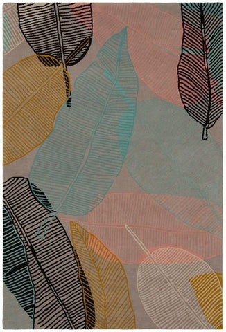 Soothing Leaves Rug in Pastel Pink, Teal, Mustard and Black - Yarn and Loom Rugs