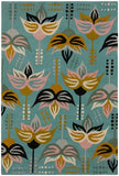 Eclectic Floral Rug in Aqua - Yarn and Loom Rugs