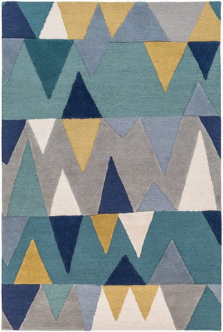 Everest Rug in Teal, Slate, Olive, Navy and Grey - Yarn and Loom Rugs