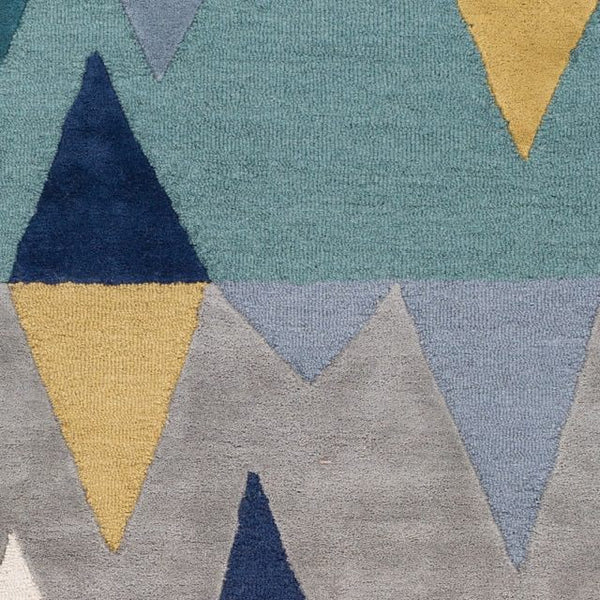 Everest Rug In Teal, Slate, Olive, Navy And Grey Geometric