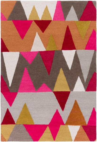 Everest Rug in Magenta, Burnt Orange, Olive, Cherry and Light Grey - Yarn and Loom Rugs