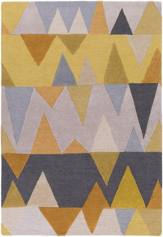 Everest Rug in Gold, Beige, Light Grey and Charcoal - Yarn and Loom Rugs