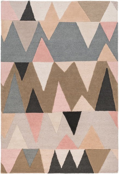 Everest Rug in Pale Pink, Light Grey, Charcoal and Taupe - Yarn and Loom Rugs