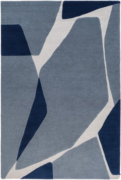 Tatra Rug in Slate, Navy Blue and Light Grey - Yarn and Loom Rugs