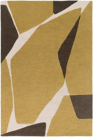Tatra Rug in Gold and Olive Green - Yarn and Loom Rugs