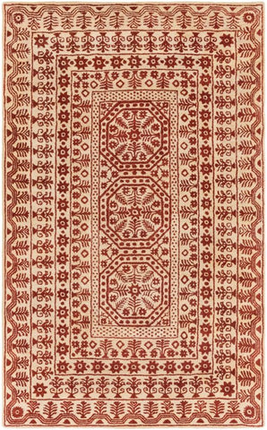 Medallion Rug in Dark Red and Beige - Yarn and Loom Rugs