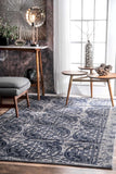 Artefact Medallion Rug in Navy Blue and Grey - Yarn and Loom Rugs