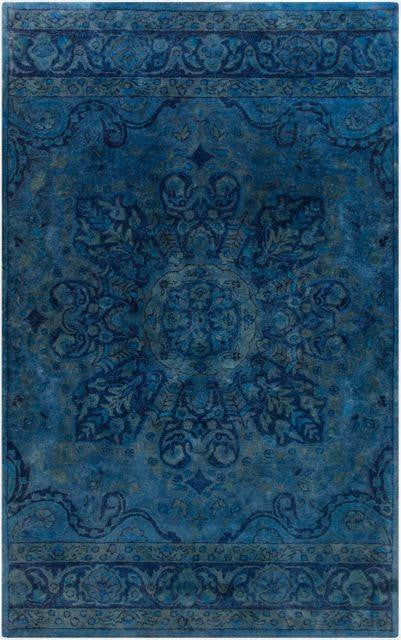 Overdyed Navy Blue Cobalt Blue And Teal Wool Rug Yarn
