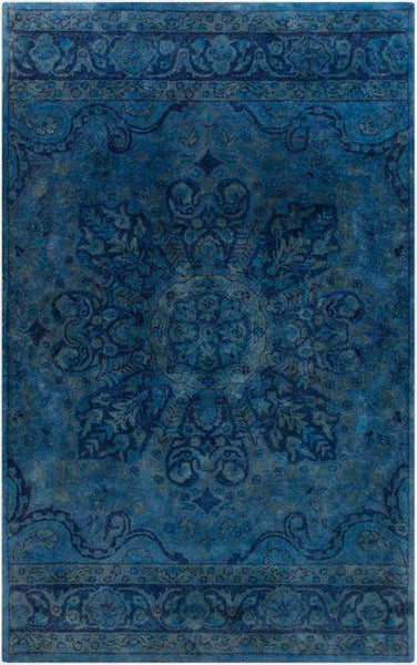 Antique Wash Overdyed Rug in Navy, Cobalt and Teal - Yarn and Loom Rugs