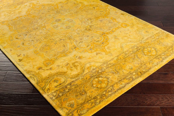 Overdyed Bright Yellow Mustard Beige And Camel Wool Rug