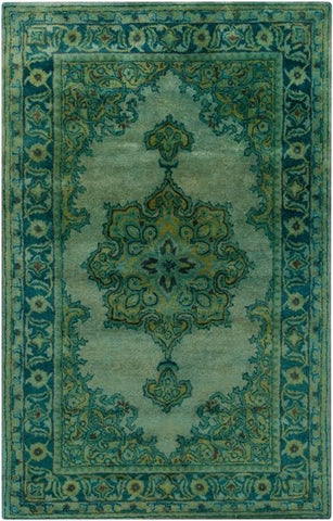 Antique Wash Overdyed Rug in Emerald Green, Sage, Teal and Olive - Yarn and Loom Rugs